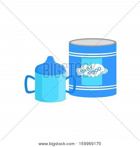 Industrical Can With Powder Milk And Sippy Cup Supplemental Baby Food Products Allowed For First Complementary Feeding Of Small Child Cartoon Illustration. Colorful Flat Vector Drawing With Meal Allowed For Toddler Proper Diet.