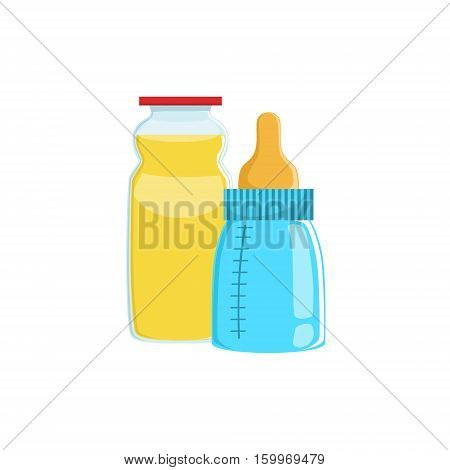 Orange Juice And Baby Bottle Supplemental Baby Food Products Allowed For First Complementary Feeding Of Small Child Cartoon Illustration. Colorful Flat Vector Drawing With Meal Allowed For Toddler Proper Diet.