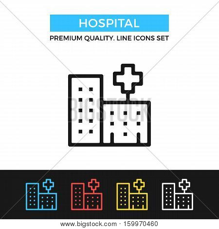 Vector hospital icon. Clinic building concepts. Premium quality graphic design. Modern signs, outline symbols collection, simple thin line icons set for websites, web design, mobile app, infographics