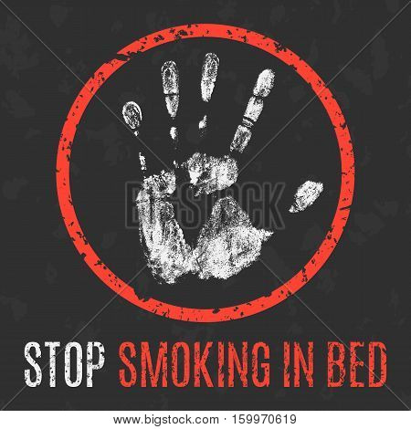 Conceptual vector illustration. Stop smoking in bed.