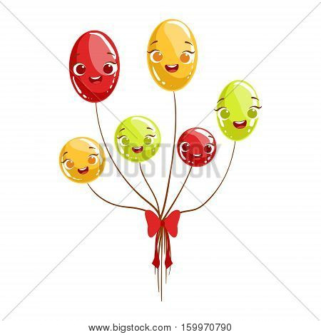 Bunch Of Party Glossy Balloons Kids Birthday Party Happy Smiling Animated Object Cartoon Girly Character Festive Illustration. Part Of Vector Collection Of Fantasy Creatures On Children Celebration Flat Drawings.