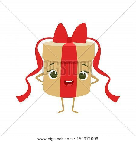 Round Gift Box With Red Bow Kids Birthday Party Happy Smiling Animated Object Cartoon Girly Character Festive Illustration. Part Of Vector Collection Of Fantasy Creatures On Children Celebration Flat Drawings.