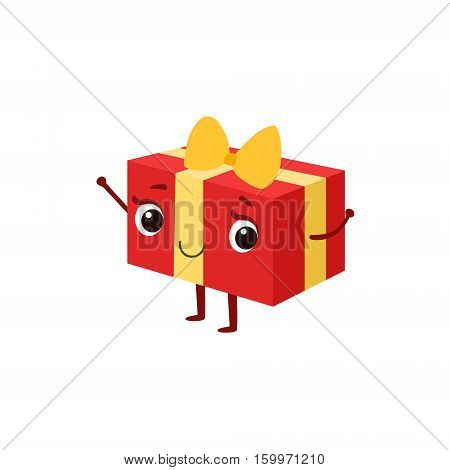 Square Gift Box With Yellow Bow Kids Birthday Party Happy Smiling Animated Object Cartoon Girly Character Festive Illustration. Part Of Vector Collection Of Fantasy Creatures On Children Celebration Flat Drawings.