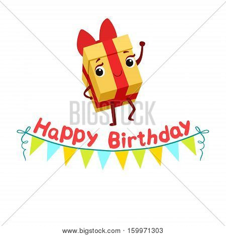 Gift Box And Paper Garland Kids Birthday Party Happy Smiling Animated Object Cartoon Girly Character Festive Illustration. Part Of Vector Collection Of Fantasy Creatures On Children Celebration Flat Drawings.