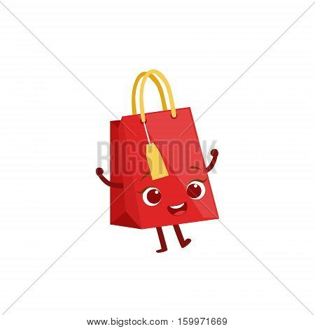 Paper Shopping Gift Bag Kids Birthday Party Happy Smiling Animated Object Cartoon Girly Character Festive Illustration. Part Of Vector Collection Of Fantasy Creatures On Children Celebration Flat Drawings.