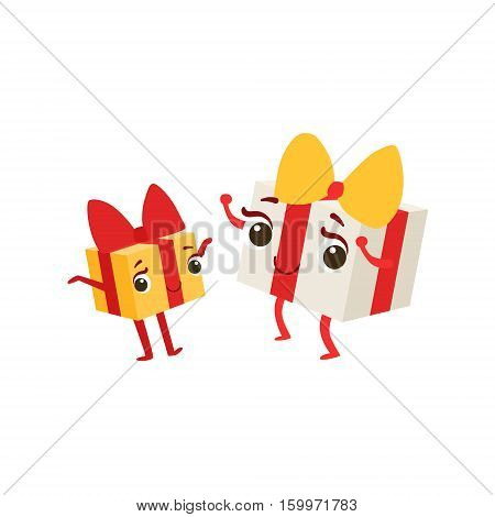Two Boxes With Presents Kids Birthday Party Happy Smiling Animated Object Cartoon Girly Character Festive Illustration. Part Of Vector Collection Of Fantasy Creatures On Children Celebration Flat Drawings.