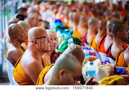 CHIANG MAI THAILAND - JULY 18 2016: Monks gathering at Wat Chedi Luang Temple during the buddhist celebration. Holy center in Chiang Mai