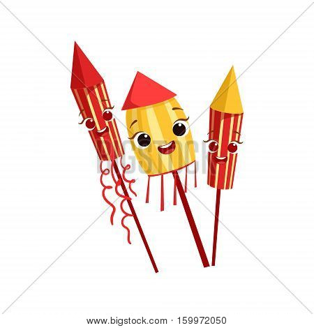 Fireworks Kids Birthday Party Happy Smiling Animated Object Cartoon Girly Character Festive Illustration. Part Of Vector Collection Of Fantasy Creatures On Children Celebration Flat Drawings.