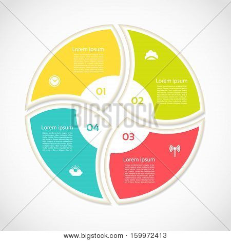 Infographic Template for Business. Four steps cycling diagram. Process diagram. Progress diagram. Vector infographic.Vector diagram.