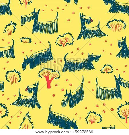 Cute doodle seamless pattern with Scotch Terrier dog breed. Outdoor pets with footprints and trees and bushes