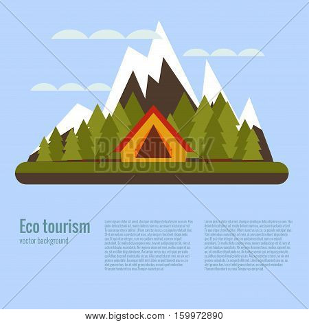 Vector cartoon eco tourism camping concept with tent, trees, mountain. Flat illustration of summer eco tourism camping poster. Ecological travelling background for eco tourism designs.