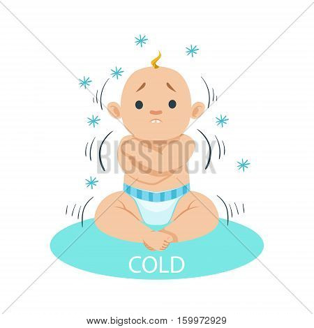 Little Baby Boy In Nappy Shivering Of Cold, Part Of Reasons Of Infant Being Unhappy And Crying Cartoon Illustration Collection. Infancy And Parenthood Info Vector Drawings With Explanations Why Toddler Is Upset.