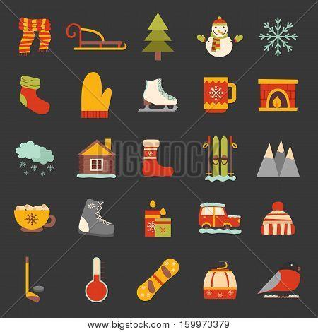 Vector Winter Cartoon Icons