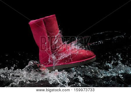 shoes waterproof protected brown color with water droplets. Shoes wax protect shoes from water