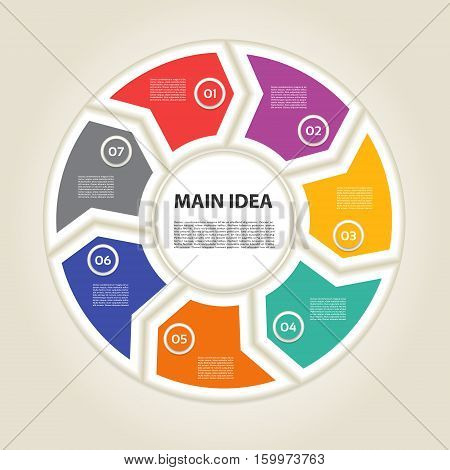 Template for diagram graph presentation and chart. Business concept with 7 options parts steps or processes. Vector infographic