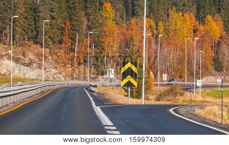 Divarication Of Rural Norwegian Road