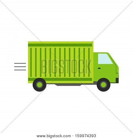 Delivery Service Company Green Long Distance Truck Delivering Shipment. Part Of Logistics Transport Firm Collection Of Cartoon Vector Illustrations.