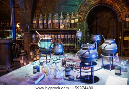 Leavesden, London, UK - 1 March 2016: Interior of professor Snape magic jags collection. Decoration Warner Brothers Studio for Harry Potter film