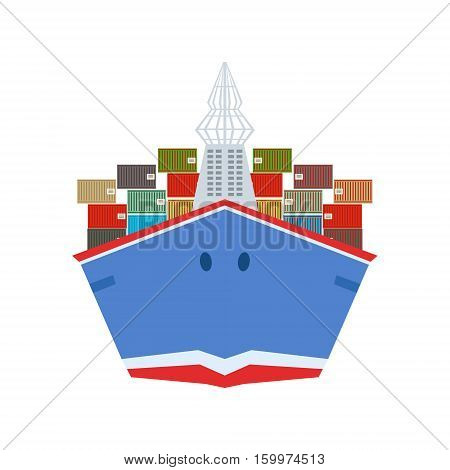 Delivery Service Company Large Cargo Ship Delivering Shipment Overseas View From The Front. Part Of Logistics Transport Firm Collection Of Cartoon Vector Illustrations.