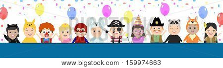 Cap background for a festive design. Children in carnival costumes vector cartoon