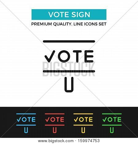 Vector vote sign icon. Voting, election concept. Premium quality graphic design. Modern signs, outline symbols collection, simple thin line icons set for websites, web design, mobile app, infographics