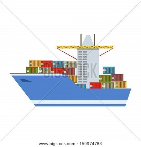 Delivery Service Company Large Cargo Boat Delivering Shipment Overseas View From The Front. Part Of Logistics Transport Firm Collection Of Cartoon Vector Illustrations.