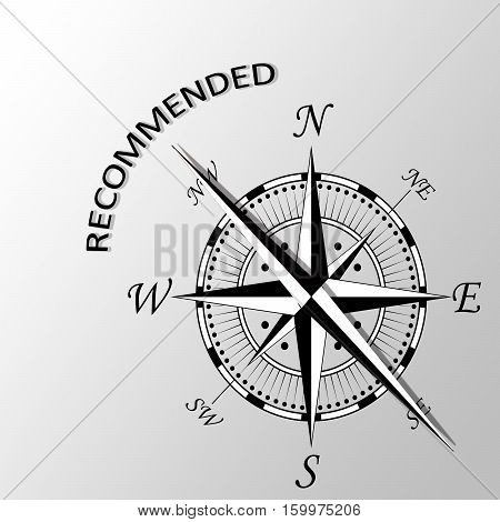 Illustration of Recommended word written aside compass