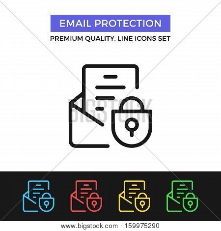 Vector email protection icon. E-mail security. Premium quality graphic design. Modern signs, outline symbols collection, simple thin line icons set for websites, web design, mobile app, infographics