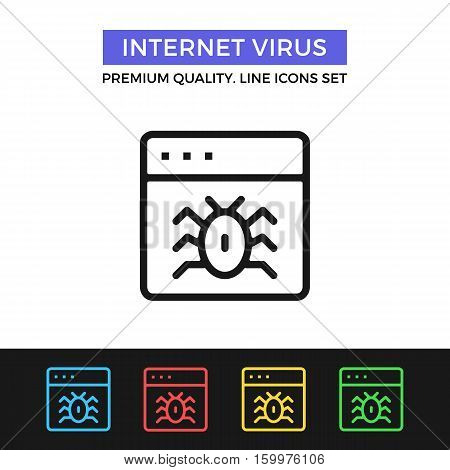 Vector internet virus icon. Malicious software. Premium quality graphic design. Modern signs, outline symbols collection, simple thin line icons set for websites, web design, mobile app, infographics