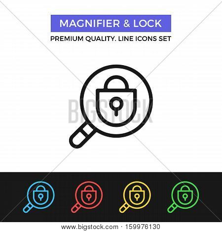 Vector magnifier and lock icon. Security system inspection. Premium quality graphic design. Modern signs, outline symbols, simple thin line icons set for websites, web design, mobile app, infographics