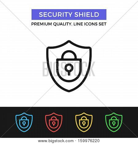 Vector security shield icon. Safeguard, protection. Premium quality graphic design. Signs, outline symbols collection, simple thin line icons set for websites, web design, mobile app, infographics