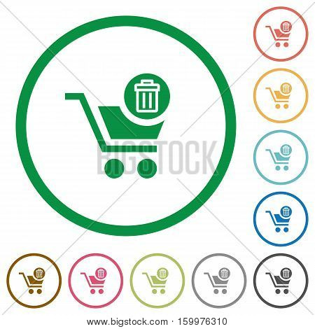 Delete from cart flat color icons in round outlines