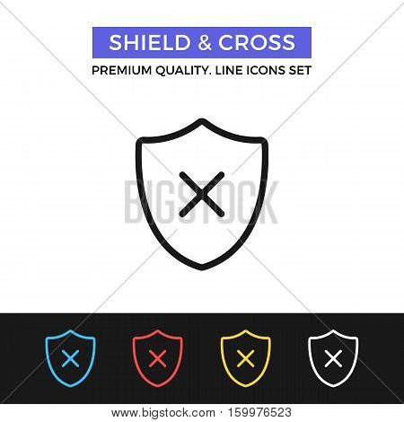 Vector shield and cross icon. Computer virus, malware. Premium quality graphic design. Signs, outline symbols collection, simple thin line icons set for websites, web design, mobile app, infographics