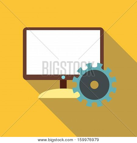 Monitor icon. Flat illustration of monitor vector icon for web