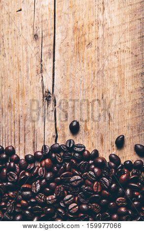 Coffee on grunge wooden background. harvest hot drinks
