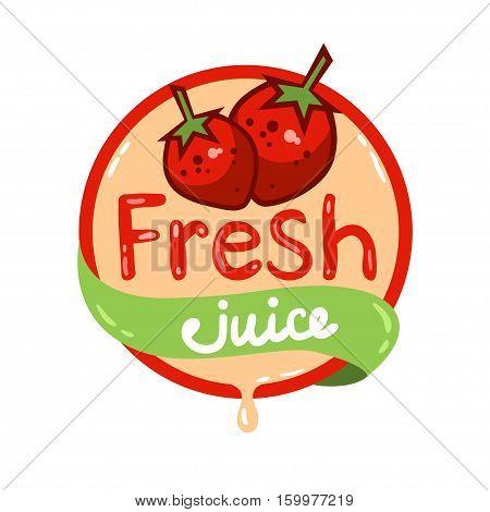 Colorful fresh strawberry juice emblem, vector illustration for your design.