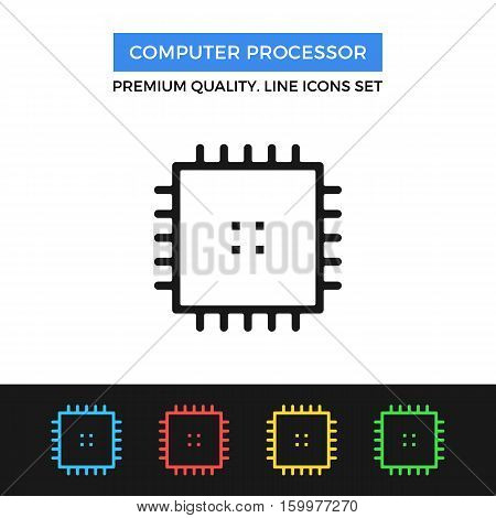 Vector computer processor icon. CPU concept. simple thin line icons set for websites, web design, mobile app, infographics