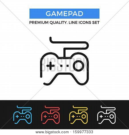 Vector gamepad icon. Game controller concept. simple thin line icons set for websites, web design, mobile app, infographics
