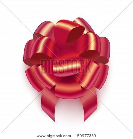vector red isolated realistic bow on white background