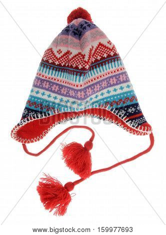 Funny and warm beanie isolated on white background