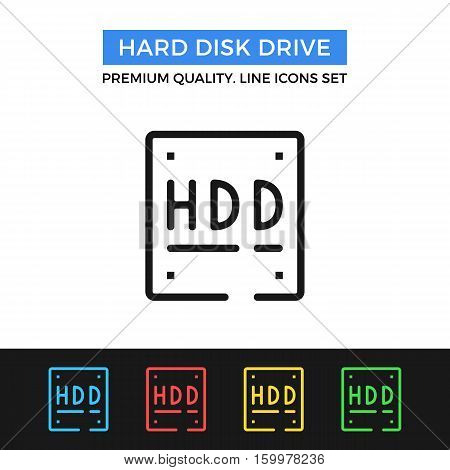 Vector hard disk drive icon. HDD, data storage. simple thin line icons set for websites, web design, mobile app, infographics