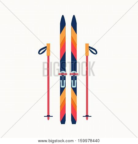 Colorfu sport winter ski isolated illustration. Vector sport winter ski icon made in flat style.