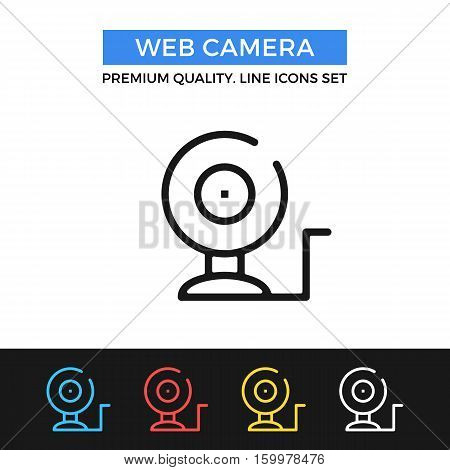 Vector web camera icon. Webcam, video camera. simple thin line icons set for websites, web design, mobile app, infographics