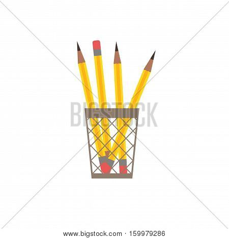 Pencil  flat icon. Vector pencil silhouette illustration. Colorful cartoon flat pencil icon for your design.