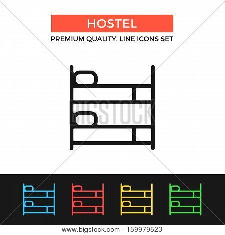Vector hostel icon. Bunk bed, hotel booking. Premium quality graphic design. Modern signs, outline symbols collection, simple thin line icons set for websites, web design, mobile app, infographics