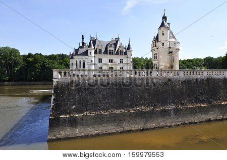 CHENONCEAU FRANCE - JUNE2013 - Loire Valley castle near the village of Chenonceaux. It was built in 15-16 century an architectural mixture of late Gothic and early Renaissance.