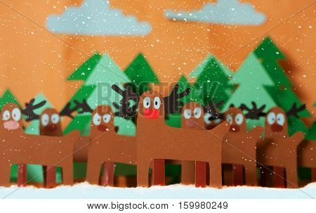 Santa Deer In Forest