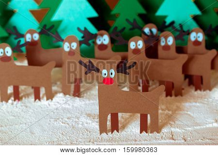 Santa Deer In Forest