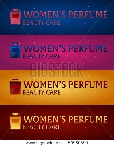 Logo Women's Perfume. Beauty Care. Classic Bottle Of Perfume. Liquid Luxury Fragrance Aromatherapy.