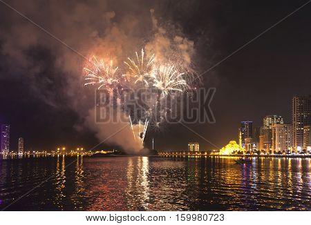 Fireworks Festival. Lagoon. Sharjah. United Arab Emirates.